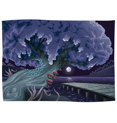 Landscape with water in the night vector