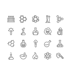Line chemical icons vector