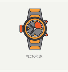 Line flat color diver underwater equipment vector