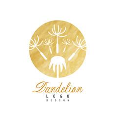 Luxury logo design of dandelion with flying fluffy vector