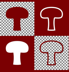 Mushroom simple sign bordo and white vector
