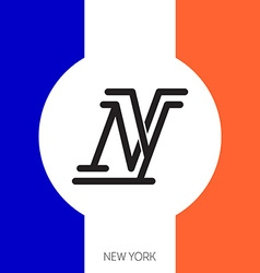 New York City Original lettering with flag colors vector image vector image