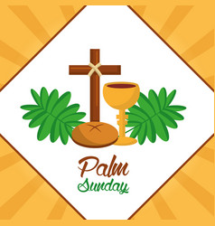 Palm sunday cross bread cup frond poster vector