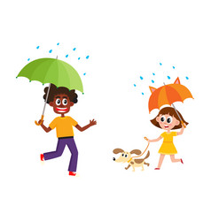 People keeping umbrella in rain set vector