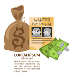 poster wanted criminals and a bag of money vector image vector image