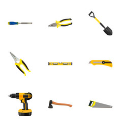 realistic chisel spade electric screwdriver and vector image vector image