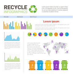 Rubbish container for sorting waste infographic vector