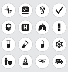Set of 16 editable health icons includes symbols vector