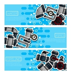 Set of horizontal banners about water pipes vector