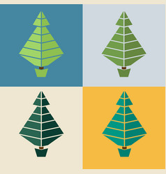 trees flat design set of trees in vector image