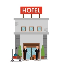 Building bellboy baggage hotel icon vector