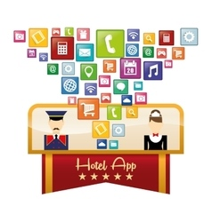 Maid bellboy and hotel digital apps design vector