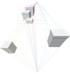 Gift boxes in two-point perspective vector
