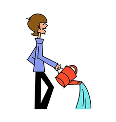 Side view of boy holding watering can vector