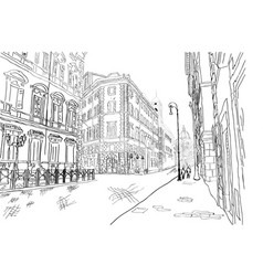 Black and white sketch of a street in rome vector