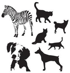 animal silhouette set vector image