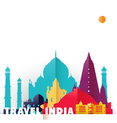 Travel india country paper cut world monuments vector