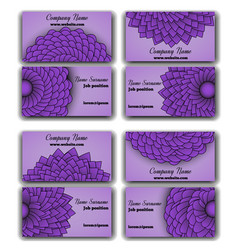 Set of purple business cards vector