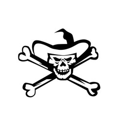 Cowboy pirate skull cross bones retro vector