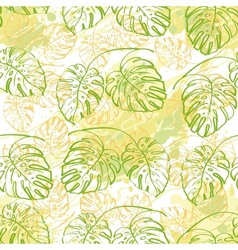 Seamless pattern contour leaves vector image