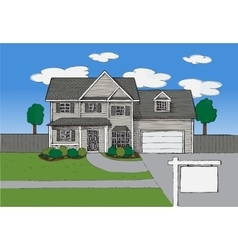 Hand drawn real estate house vector