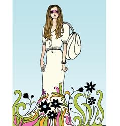flower power girl vector image