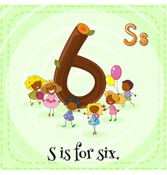 Flashcard of letter Six vector image