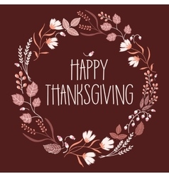 Happy thanksgiving day leaves crown vector