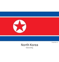 National flag of north korea with correct vector