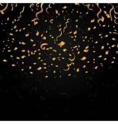 Gold confetti on black background festive vector image