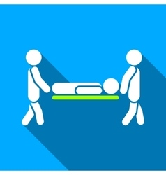 Men carry patient stretcher flat long shadow vector