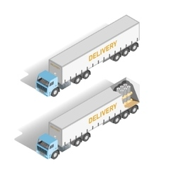 Isometric set truck inside and outside vector