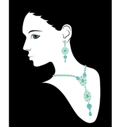 Woman in necklace and earrings vector