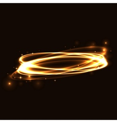 Gold circle light tracing effect glowing vector