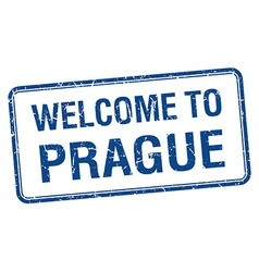 Welcome to prague blue grunge square stamp vector