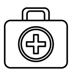 Black and white first aid bag graphic vector