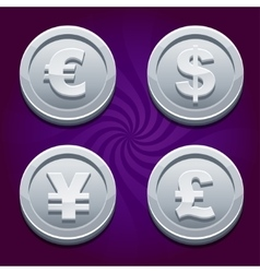 Dollar euro pound and yen silver coins vector