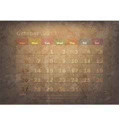 antique calendar of October vector image