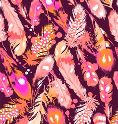 beautiful orange and pink feathers vector image vector image