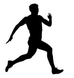Black silhouettes runners sprint men on white vector