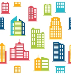 Building icons Seamless pattern with city vector image