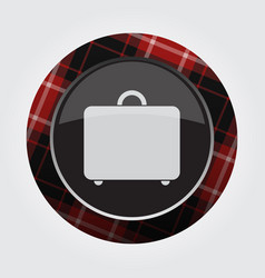 button with red black tartan - suitcase icon vector image