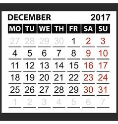 Calendar sheet december 2017 vector