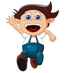 cartoon little boy gesturing on white background vector image vector image