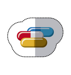 Colorful capsules treatment icon vector