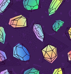Crystal seamless pattern in 80s holographic style vector
