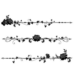Dividers with roses and ivy vector