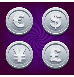 Dollar euro pound and yen silver coins vector