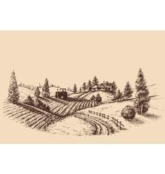 Farm landscape etch agriculture scene vector