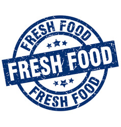 Fresh food blue round grunge stamp vector